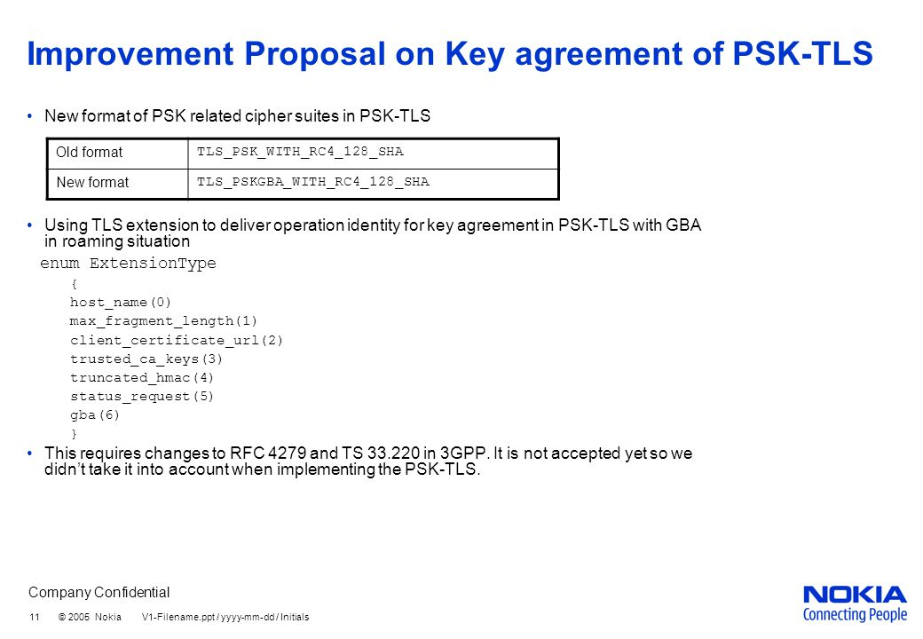 Company Confidential 11 © 2005 Nokia V1-Filename.ppt / yyyy-mm-dd / Initials Improvement Proposal on Key agreement of PSK-TLS New format of PSK related cipher suites in PSK-TLS Using TLS extension to deliver operation identity for key agreement in PSK-TLS with GBA in roaming situation enum ExtensionType { host_name(0) max_fragment_length(1) client_certificate_url(2) trusted_ca_keys(3) truncated_hmac(4) status_request(5) gba(6) } This requires changes to RFC 4279 and TS 33.220 in 3GPP.