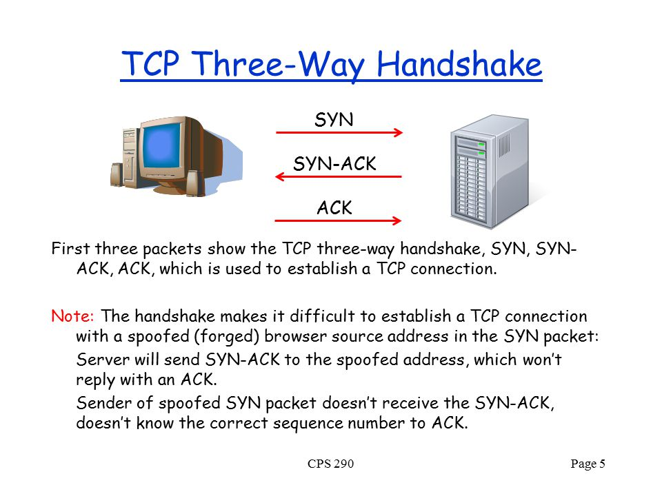 TCP Three-Way Handshake First three packets show the TCP three-way handshake, SYN, SYN- ACK, ACK, which is used to establish a TCP connection. Note: T