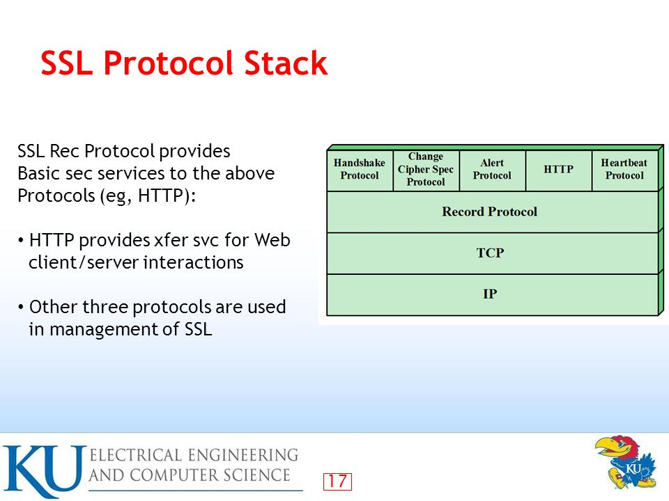 17 SSL Protocol Stack SSL Rec Protocol provides Basic sec services to the above Protocols (eg, HTTP): HTTP provides xfer svc for Web client/server interactions Other three protocols are used in management of SSL