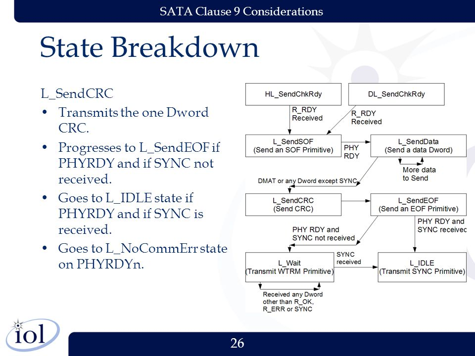 26 SATA Clause 9 Considerations State Breakdown L_SendCRC Transmits the one Dword CRC. Progresses to L_SendEOF if PHYRDY and if SYNC not received. Goe