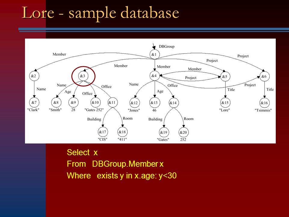 LORE An example of a native semi-structured database