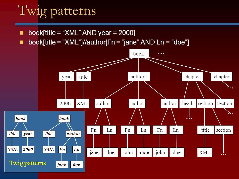 Holistic Twig Joins: Optimal XML Pattern Matching Bruno, Koudas, Srivastava ACM SIGMOD 2002
