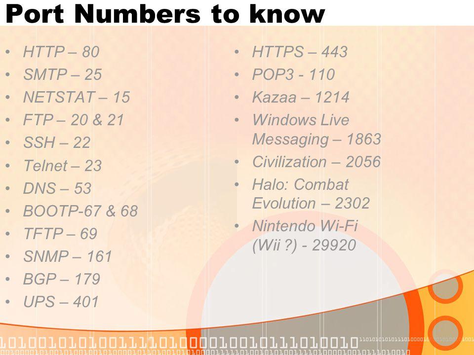 Port Numbers to know HTTP – 80 SMTP – 25 NETSTAT – 15 FTP – 20 & 21 SSH – 22 Telnet – 23 DNS – 53 BOOTP-67 & 68 TFTP – 69 SNMP – 161 BGP – 179 UPS – 4