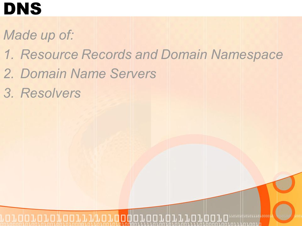 DNS Made up of: 1.Resource Records and Domain Namespace 2.Domain Name Servers 3.Resolvers