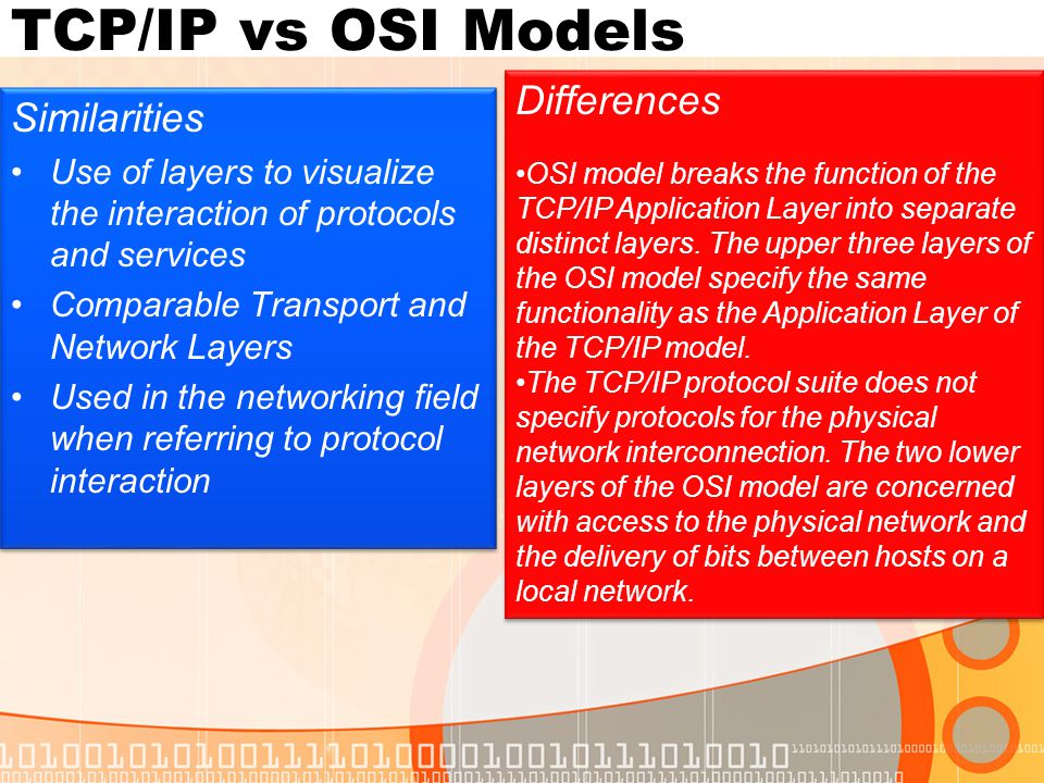 TCP/IP vs OSI Models TCP/IP model is based on actual protocols and standards developed, whereas the OSI model is a theoretical guide for how protocols interact.