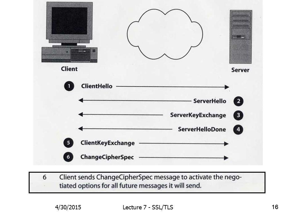 16 4/30/2015Lecture 7 - SSL/TLS
