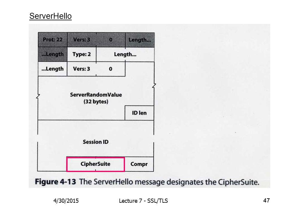 47 ServerHello 4/30/2015Lecture 7 - SSL/TLS