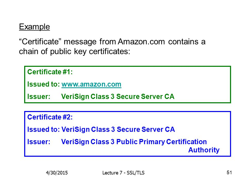 51 Certificate #1: Issued to: www.amazon.comwww.amazon.com Issuer: VeriSign Class 3 Secure Server CA Certificate #2: Issued to: VeriSign Class 3 Secur