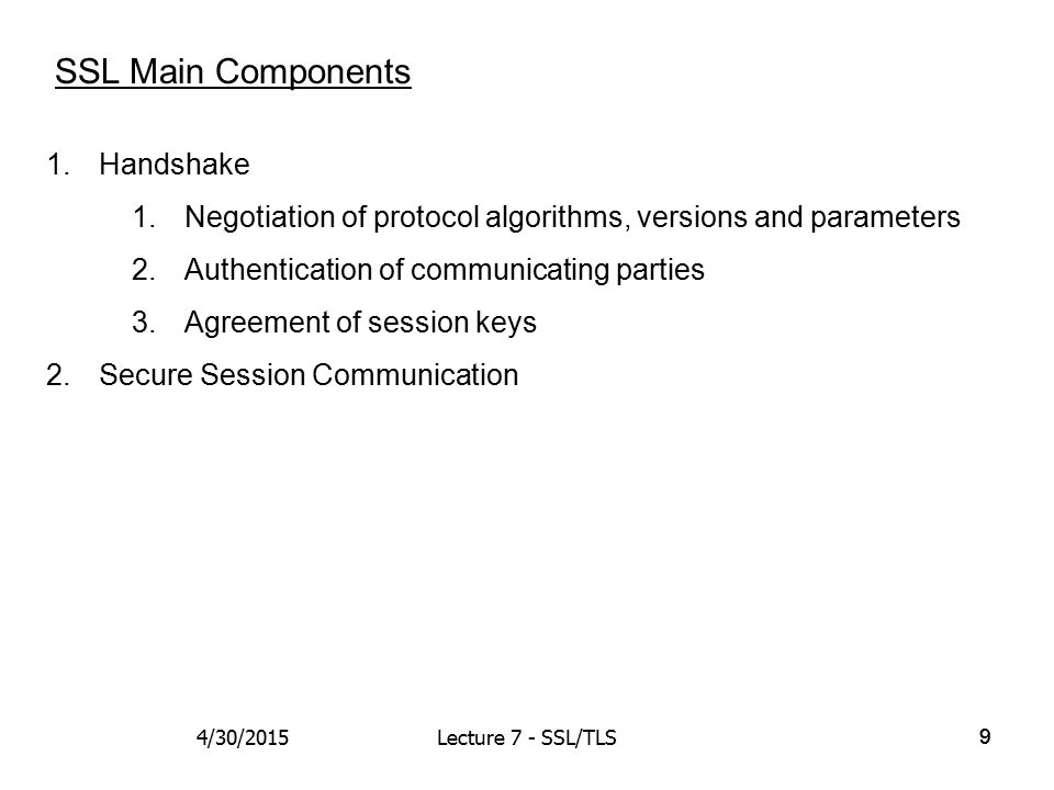 99 SSL Main Components 1.Handshake 1.Negotiation of protocol algorithms, versions and parameters 2.Authentication of communicating parties 3.Agreement of session keys 2.Secure Session Communication 4/30/2015Lecture 7 - SSL/TLS