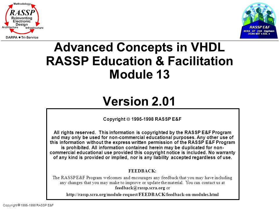Copyright  1995-1998 RASSP E&F Advanced Concepts in VHDL RASSP Education & Facilitation Module 13 Version 2.01 Copyright  1995-1998 RASSP E&F All rights reserved.