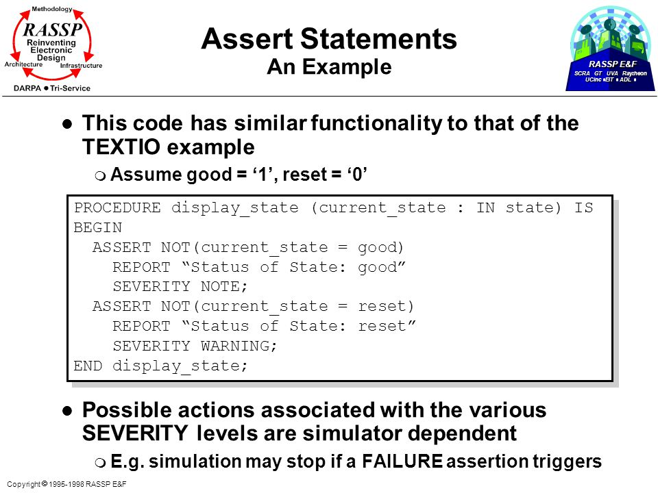 RASSP E&F SCRA GT UVA Raytheon UCinc EIT ADL Copyright  1995-1998 RASSP E&F l This code has similar functionality to that of the TEXTIO example m Assume good = '1', reset = '0' l Possible actions associated with the various SEVERITY levels are simulator dependent m E.g.