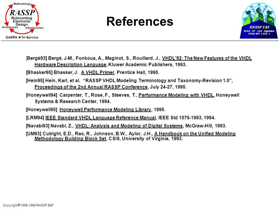 RASSP E&F SCRA GT UVA Raytheon UCinc EIT ADL Copyright  1995-1998 RASSP E&F References [Bergé93] Bergé, J-M., Fonkoua, A., Maginot, S., Rouillard, J.