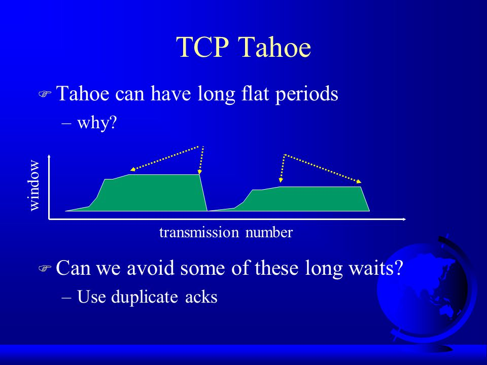 TCP Tahoe F Tahoe can have long flat periods –why.