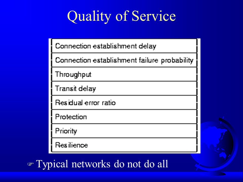 Quality of Service F Typical networks do not do all