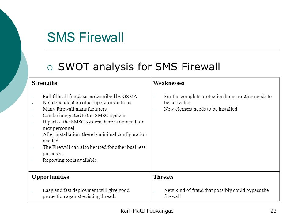 Kari-Matti Puukangas23 SMS Firewall  SWOT analysis for SMS Firewall Strengths - Full fills all fraud cases described by GSMA - Not dependent on other