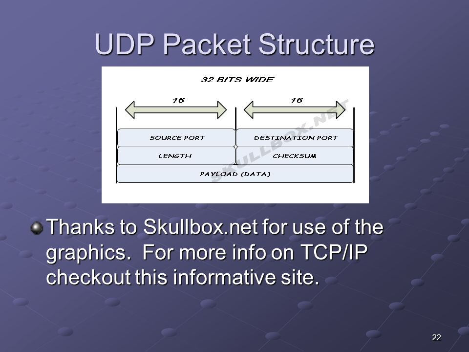 22 UDP Packet Structure Thanks to Skullbox.net for use of the graphics.