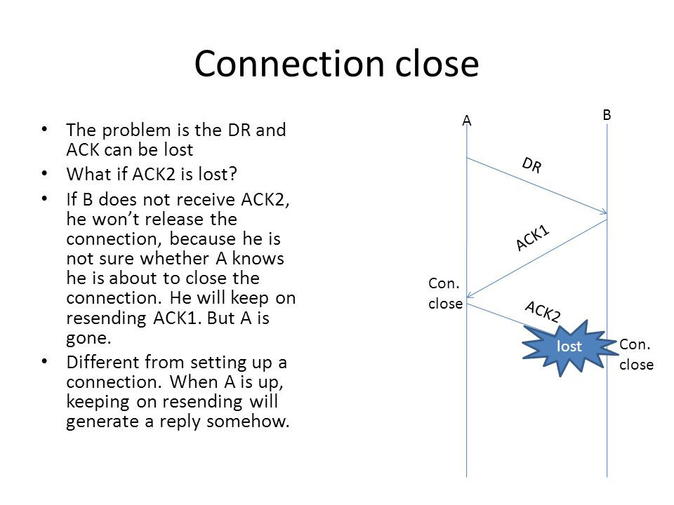 Connection close The problem is the DR and ACK can be lost What if ACK2 is lost.