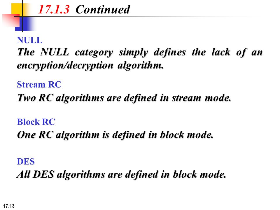 17.13 17.1.3 Continued The NULL category simply defines the lack of an encryption/decryption algorithm.