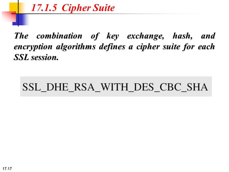 17.17 17.1.5 Cipher Suite The combination of key exchange, hash, and encryption algorithms defines a cipher suite for each SSL session.