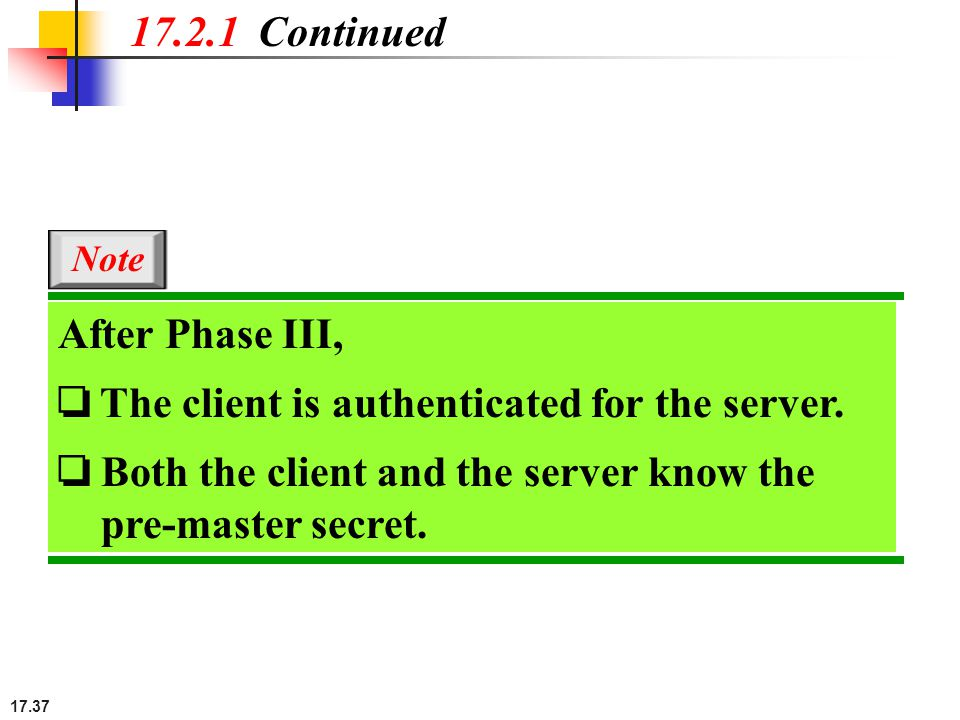 17.37 17.2.1 Continued After Phase III, ❏ The client is authenticated for the server. ❏ Both the client and the server know the pre-master secret. Not