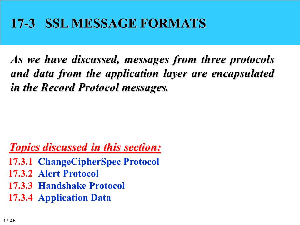 17.45 17-3 SSL MESSAGE FORMATS As we have discussed, messages from three protocols and data from the application layer are encapsulated in the Record Protocol messages.