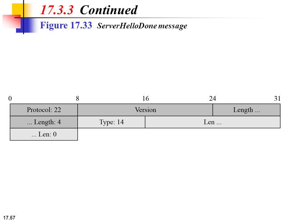 17.57 Figure 17.33 ServerHelloDone message 17.3.3 Continued