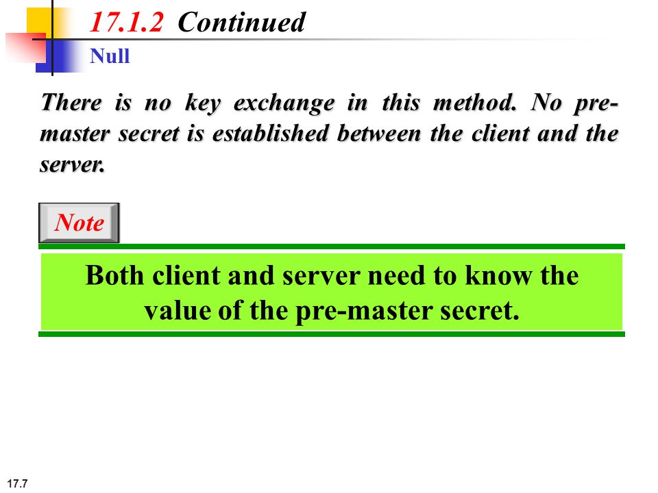 17.7 Null 17.1.2 Continued There is no key exchange in this method. No pre- master secret is established between the client and the server. Both clien