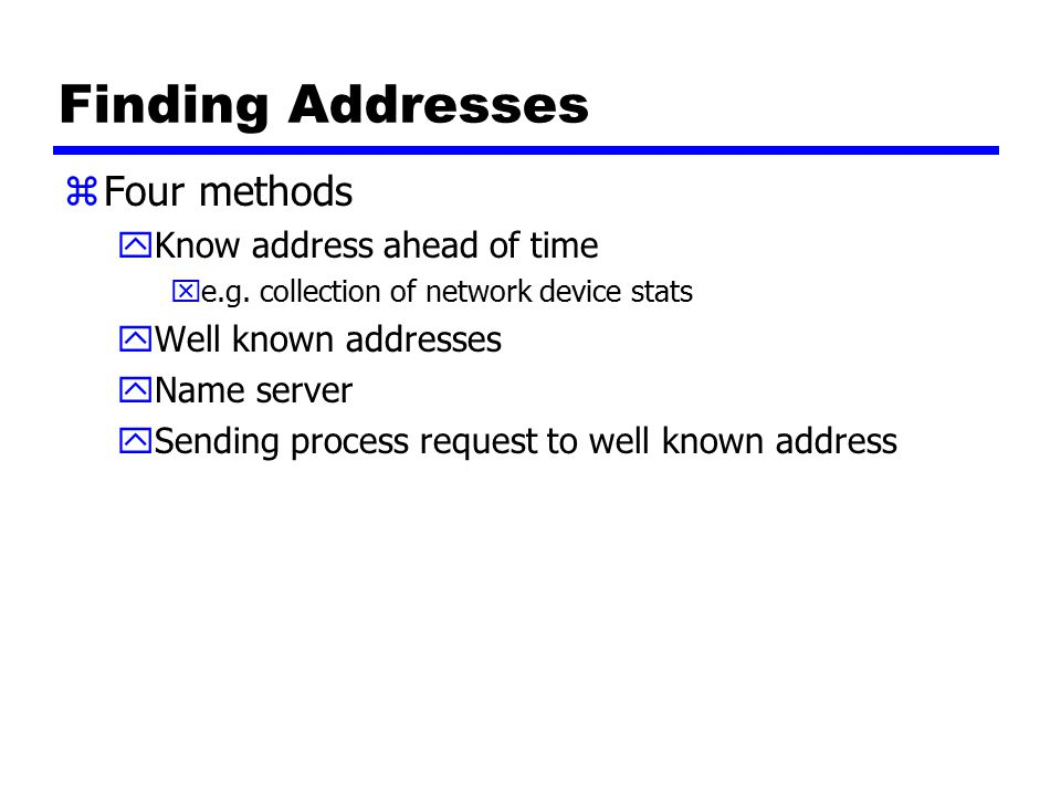Finding Addresses zFour methods yKnow address ahead of time xe.g.