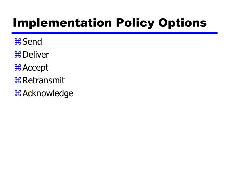 Implementation Policy Options zSend zDeliver zAccept zRetransmit zAcknowledge