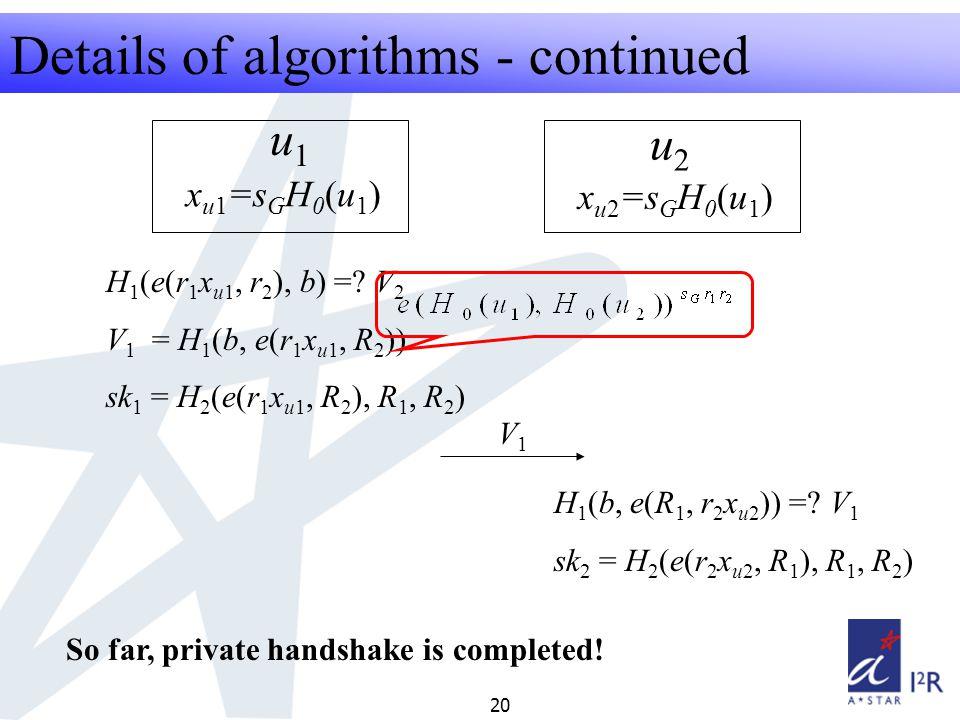 RFID Security Seminar 2008 20 Details of algorithms - continued u1u1 u2u2 x u1 =s G H 0 (u 1 ) x u2 =s G H 0 (u 1 ) H 1 (e(r 1 x u1, r 2 ), b) =.