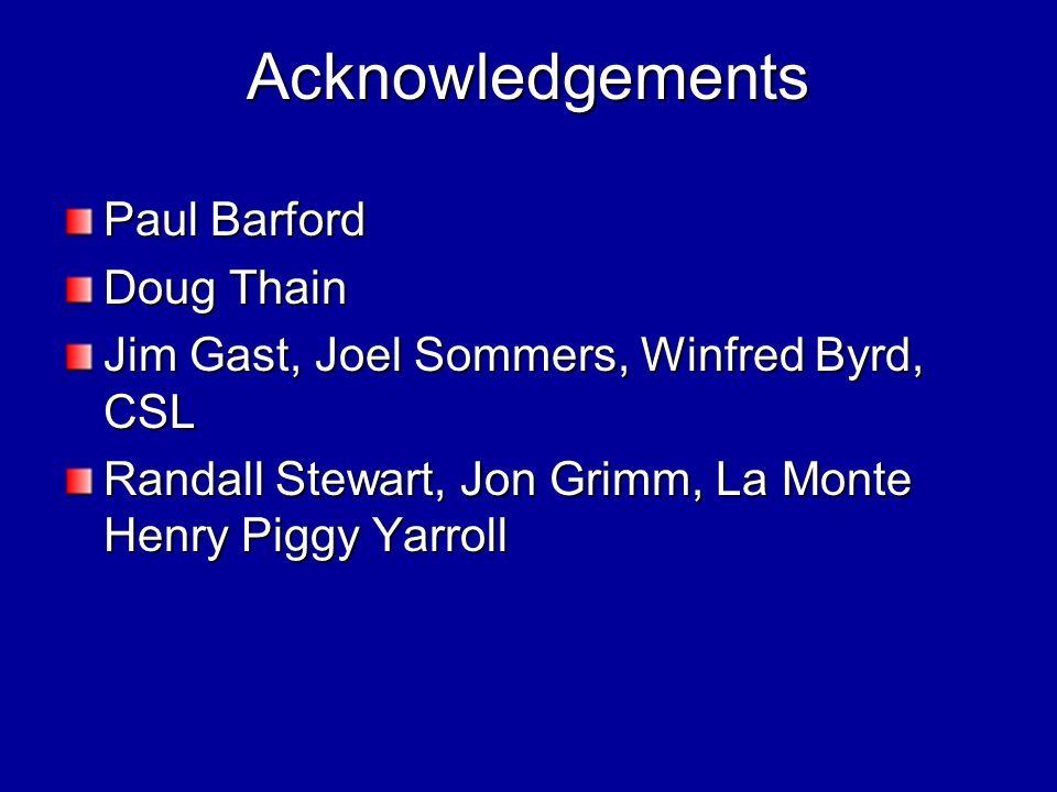 Acknowledgements Paul Barford Doug Thain Jim Gast, Joel Sommers, Winfred Byrd, CSL Randall Stewart, Jon Grimm, La Monte Henry Piggy Yarroll
