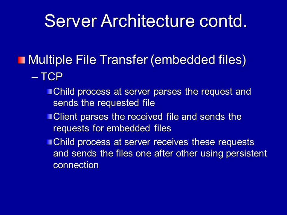 Server Architecture contd. Server Architecture contd.