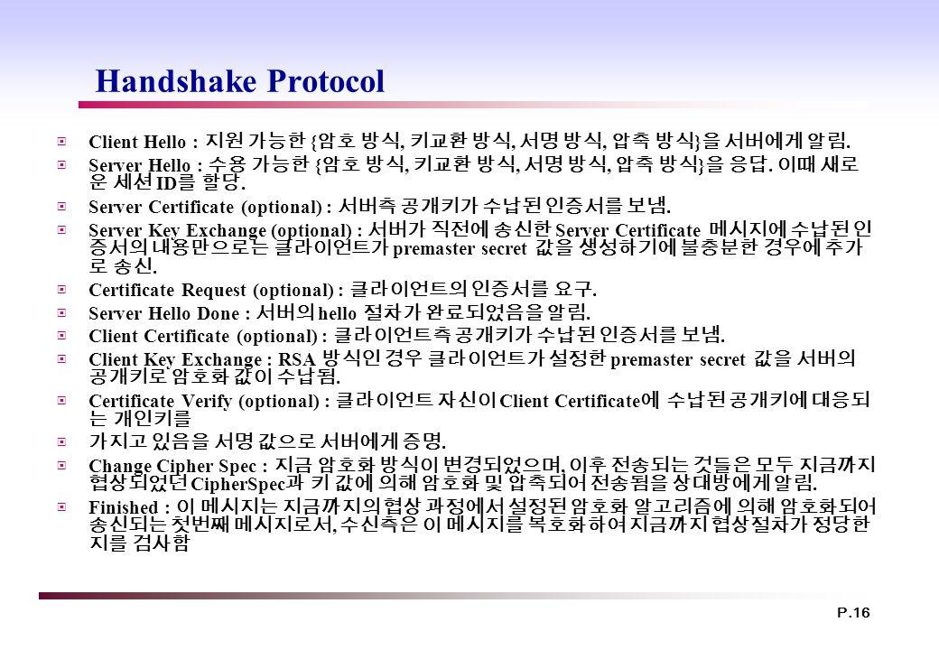 P.16 Handshake Protocol ▣ Client Hello : 지원 가능한 { 암호 방식, 키교환 방식, 서명 방식, 압축 방식 } 을 서버에게 알림. ▣ Server Hello : 수용 가능한 { 암호 방식, 키교환 방식, 서명 방식, 압축 방식 } 을 응