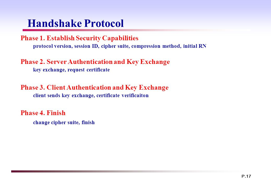 P.17 Handshake Protocol Phase 1. Establish Security Capabilities protocol version, session ID, cipher suite, compression method, initial RN Phase 2. S