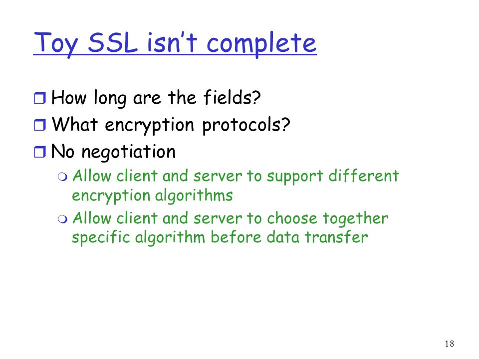 18 Toy SSL isn't complete r How long are the fields.