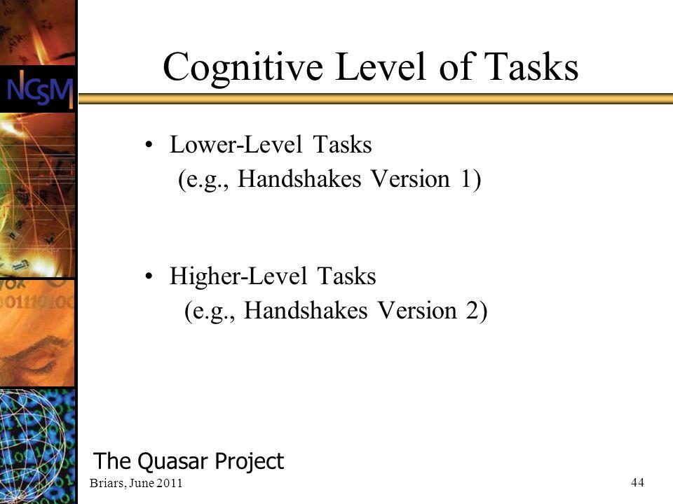 Briars, June 2011 44 Cognitive Level of Tasks Lower-Level Tasks (e.g., Handshakes Version 1) Higher-Level Tasks (e.g., Handshakes Version 2) The Quasa