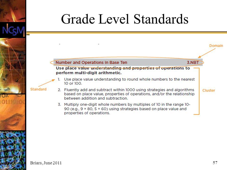 Briars, June 2011 57 Grade Level Standards