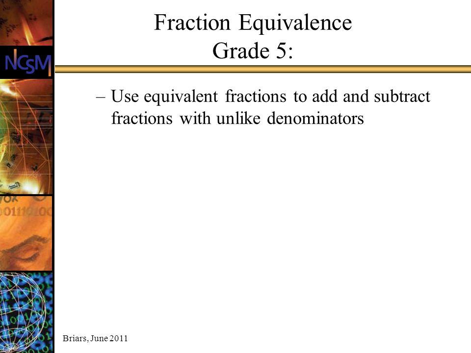 Briars, June 2011 Fraction Equivalence Grade 5: –Use equivalent fractions to add and subtract fractions with unlike denominators