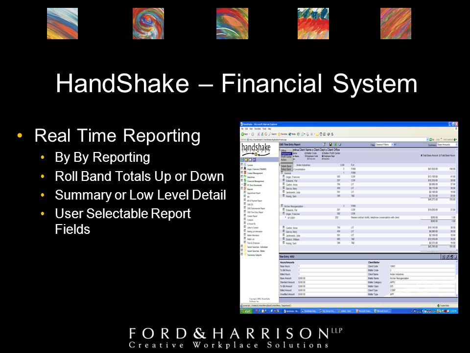HandShake – Financial System Real Time Reporting By By Reporting Roll Band Totals Up or Down Summary or Low Level Detail User Selectable Report Fields