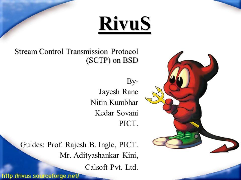 RivuS Stream Control Transmission Protocol (SCTP) on BSD By- Jayesh Rane Nitin Kumbhar Kedar Sovani PICT.