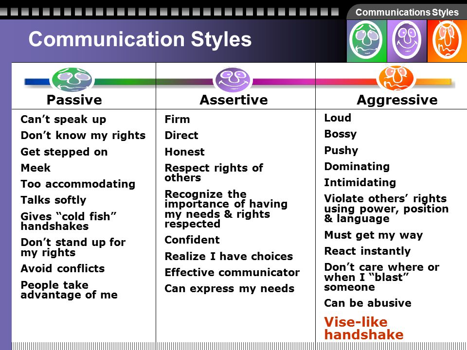 Communications Styles How about… Vise-like handshake