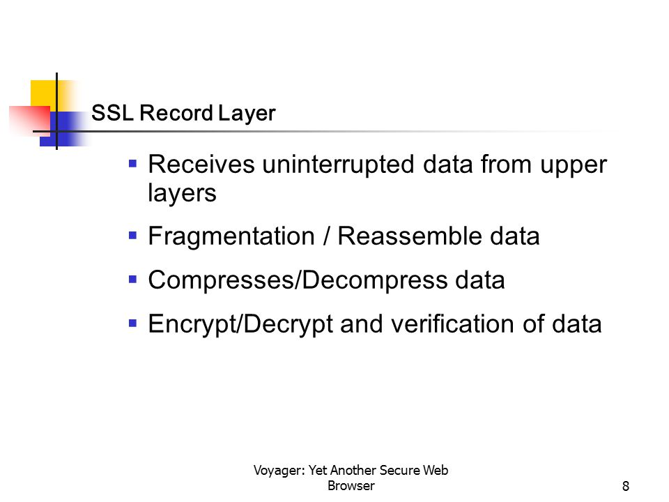 Voyager: Yet Another Secure Web Browser8 SSL Record Layer  Receives uninterrupted data from upper layers  Fragmentation / Reassemble data  Compress