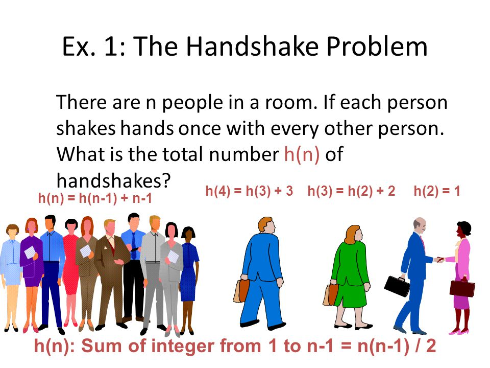 Ex.1: The Handshake Problem There are n people in a room.