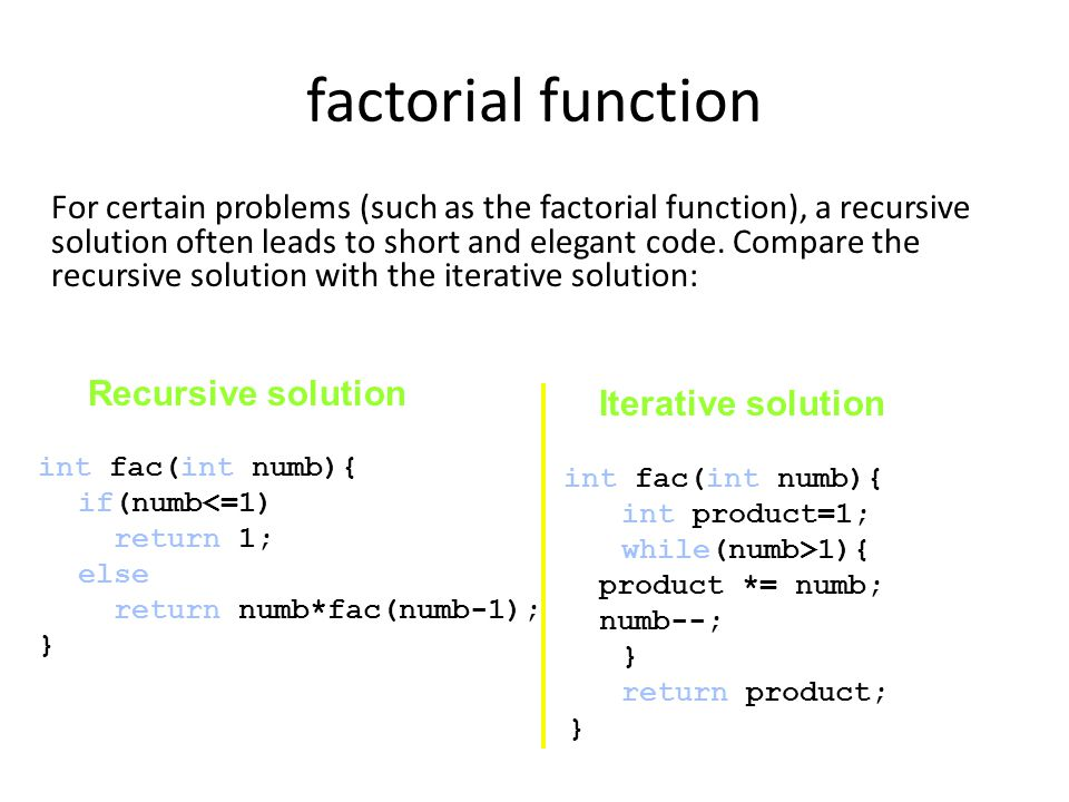 factorial function For certain problems (such as the factorial function), a recursive solution often leads to short and elegant code.
