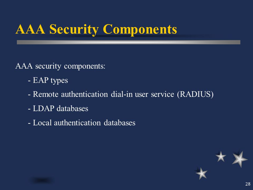28 AAA Security Components AAA security components: - EAP types - Remote authentication dial-in user service (RADIUS) - LDAP databases - Local authent