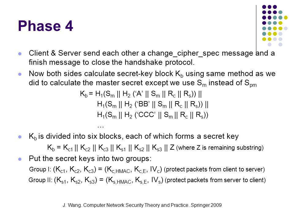 J. Wang. Computer Network Security Theory and Practice. Springer 2009 Phase 4 Client & Server send each other a change_cipher_spec message and a finis