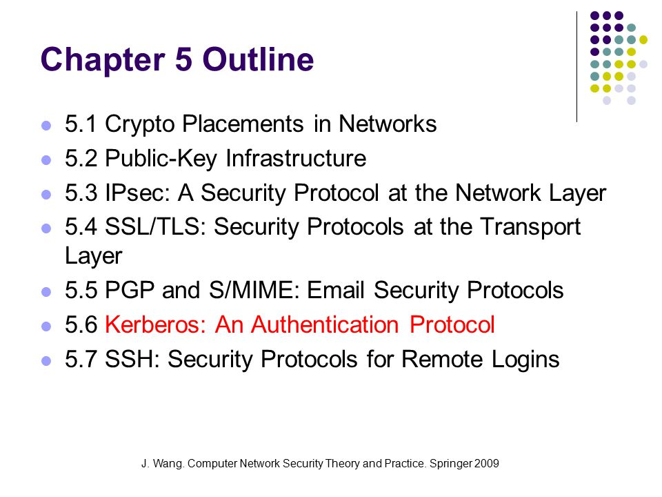 J. Wang. Computer Network Security Theory and Practice. Springer 2009 Chapter 5 Outline 5.1 Crypto Placements in Networks 5.2 Public-Key Infrastructur