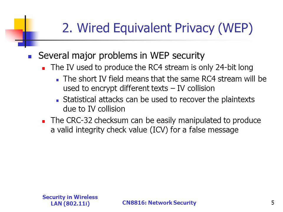 Security in Wireless LAN (802.11i) CN8816: Network Security5 2.