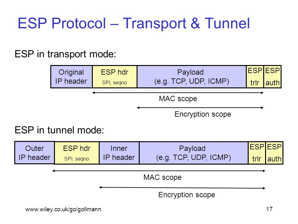 www.wiley.co.uk/go/gollmann17 ESP Protocol – Transport & Tunnel ESP hdr SPI, seqno Payload (e.g.