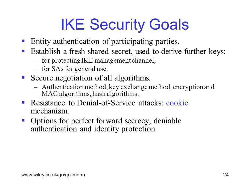 www.wiley.co.uk/go/gollmann24 IKE Security Goals  Entity authentication of participating parties.